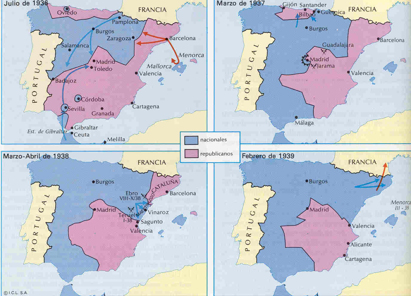 Maps Of Spain And Portugal - Spain historical map