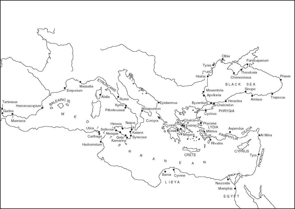 General Observations - Greek colonization archaic period map