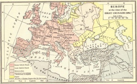 Map of Europe in 1096