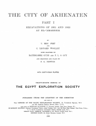 The City of Akhenaten. Part I: Excavations of 1921 and 1922 at El' Amarneh.
